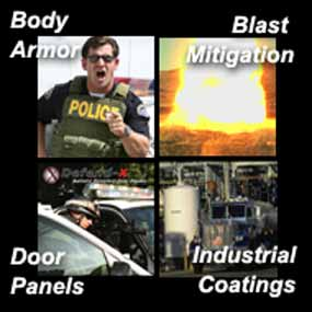 DefensTech Products - body armor, blast mitigation, door panels, industrial coatings